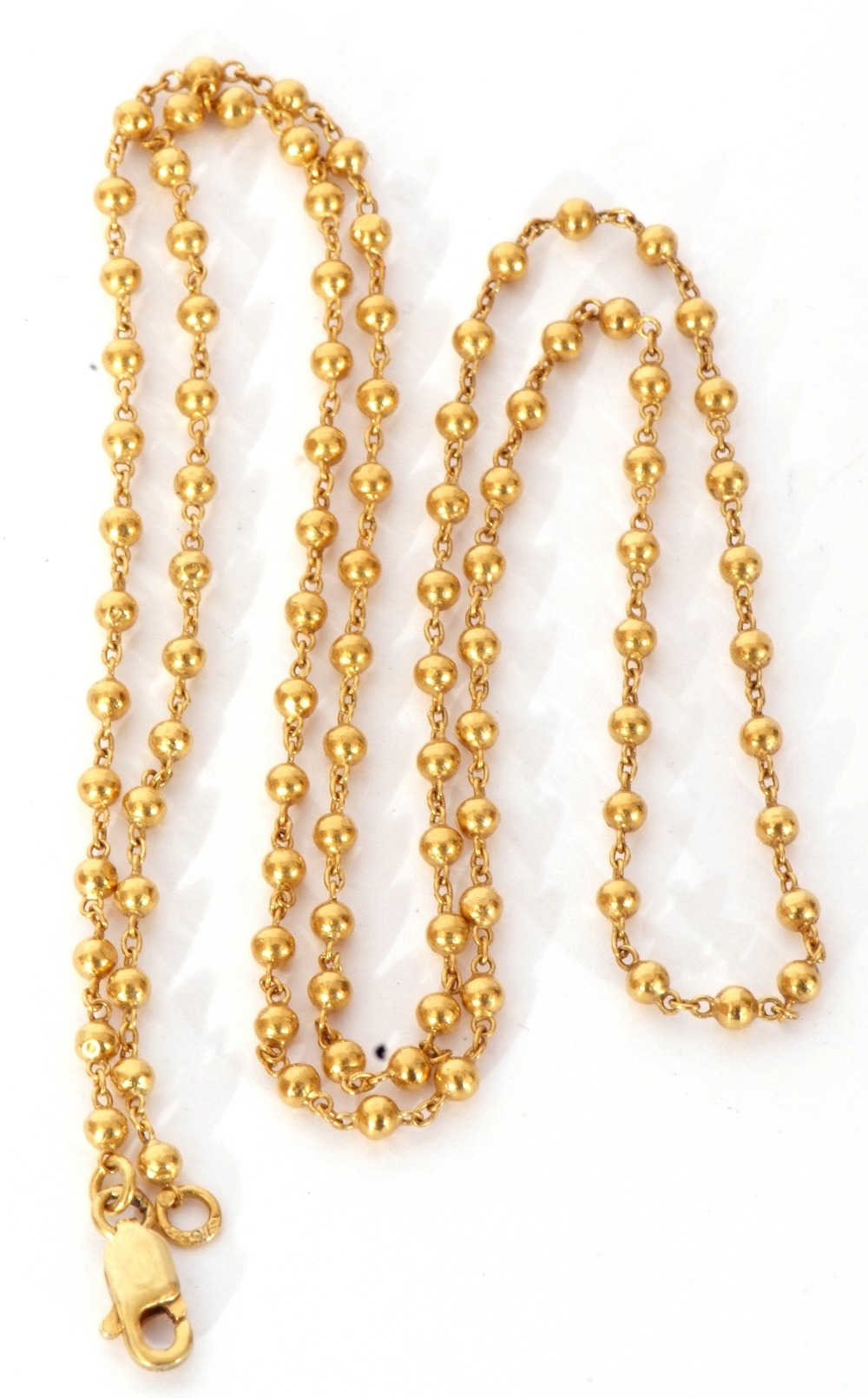 High grade yellow metal chain, oval link and bead design, 29.5cm fastened, 7.8gms (tests for 18ct - Image 2 of 2