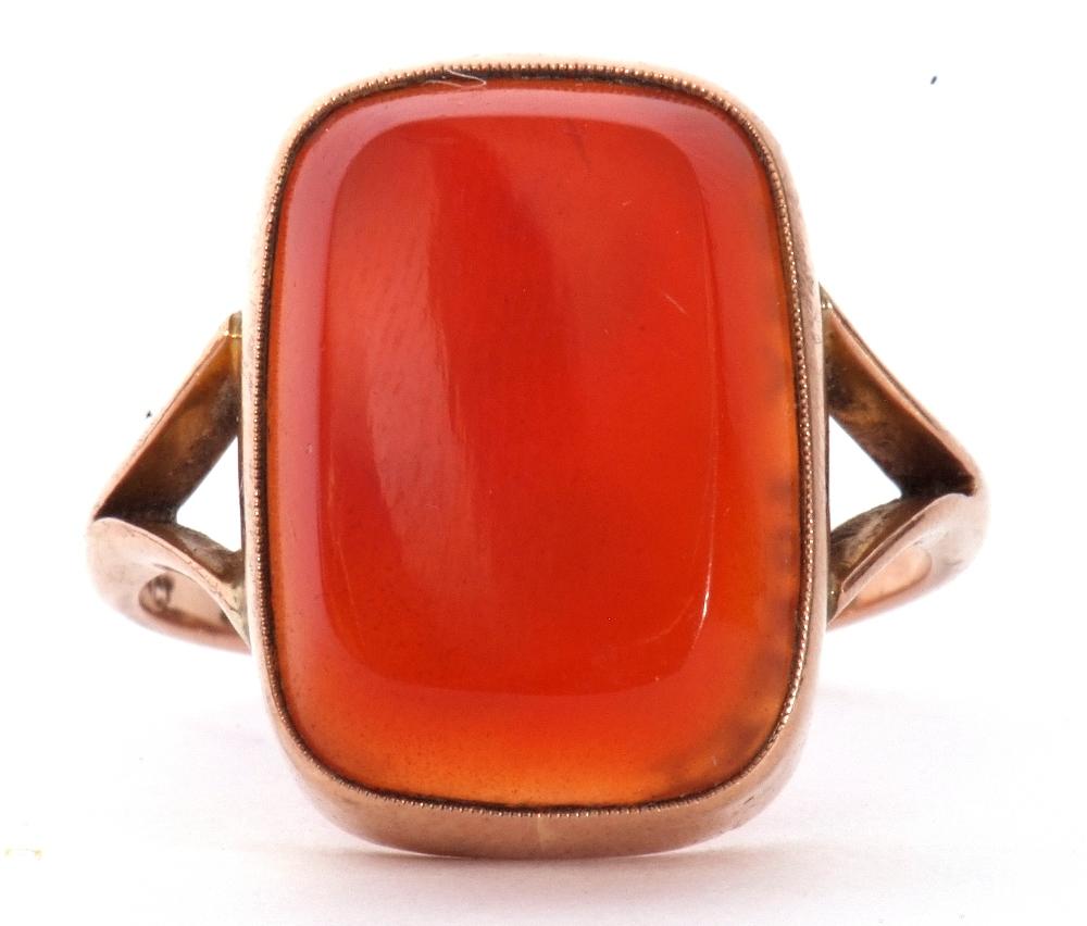 9ct stamped carnelian dress ring, the rectangular cut carnelian 18 x 12mm, bezel set and raised - Image 2 of 10