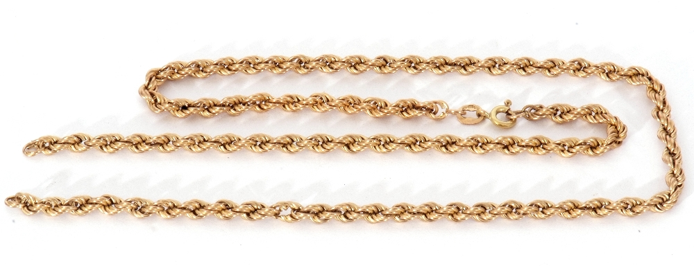 9ct gold rope twist chain, (broken), 5gms - Image 2 of 3