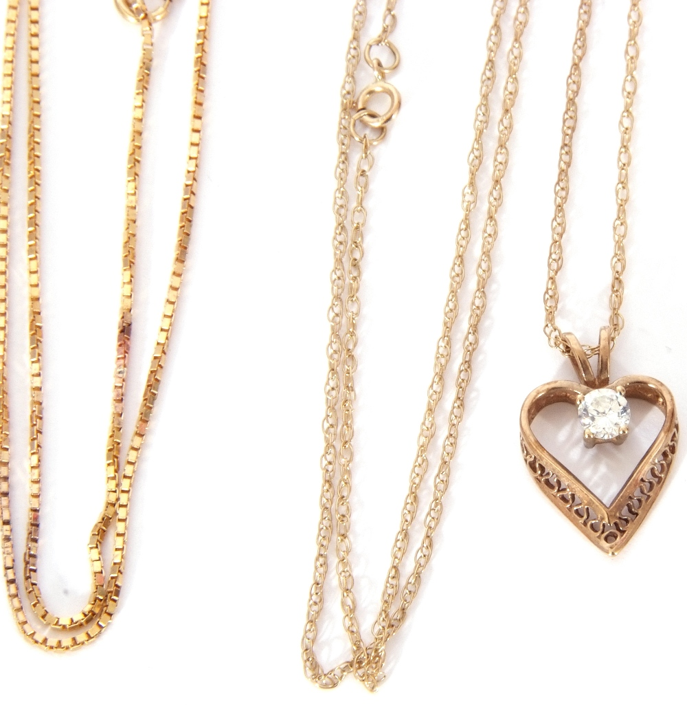 Mixed Lot: modern heart and paste set pendant suspended on a 9ct stamped trace chain, together - Image 4 of 4