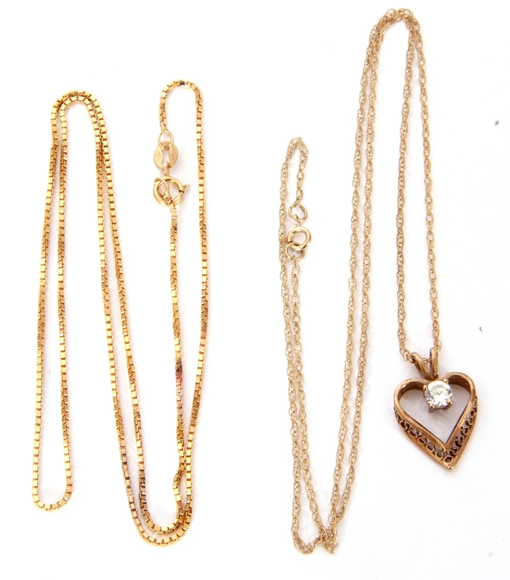 Mixed Lot: modern heart and paste set pendant suspended on a 9ct stamped trace chain, together - Image 2 of 4
