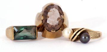 Three modern rings, each stamped 333, g/w 13.6gms