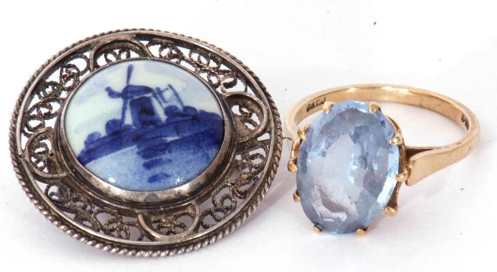 Mixed Lot: 9ct gold blue and paste set dress ring, the oval faceted multi-claw set and raised in a