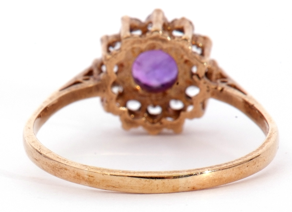 Modern 9ct gold amethyst and paste set cluster ring, size S - Image 6 of 10
