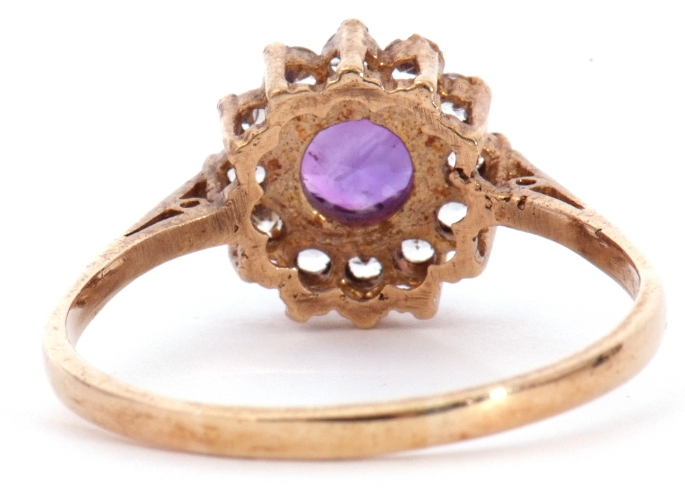 Modern 9ct gold amethyst and paste set cluster ring, size S - Image 5 of 10