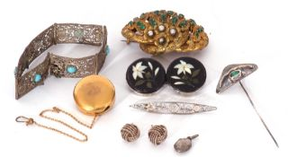 Mixed Lot: pietra dura floral twin brooch, a German E-Klips button with clip and pin fastener, a