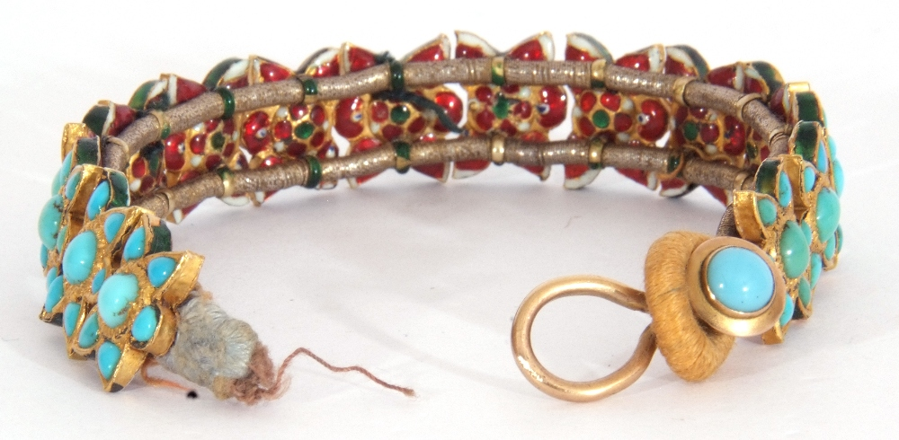 Probably Indian fabric backed yellow metal and turquoise star panelled bracelet, 15cm long (a/f) - Image 3 of 5