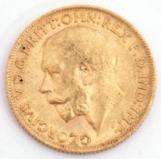 George V gold sovereign dated 1912