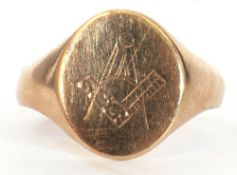 9ct gold Masonic signet ring, the oval panel engraved with compass and ruler motif, size R, 2.6gms