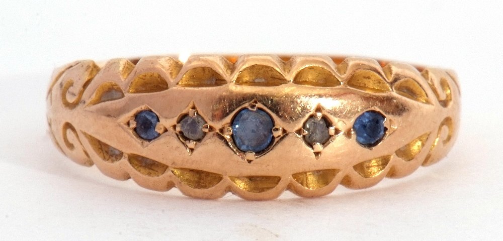 Edwardian 15ct gold, sapphire and diamond ring, alternate set with small graduated sapphires and two - Image 3 of 8