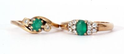 Mixed Lot: 9ct modern gold, emerald and diamond cross-over ring, size O, together with a 9ct gold