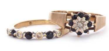 Mixed Lot: 9ct gold sapphire and diamond ring alternate set with three round faceted sapphires and