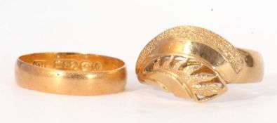 Mixed Lot: 22ct gold wedding ring of plain polished design, Birmingham 1897, 2.0gms, together with a