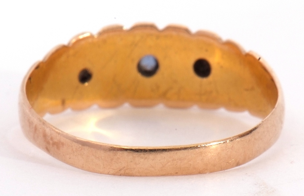 Edwardian 15ct gold, sapphire and diamond ring, alternate set with small graduated sapphires and two - Image 6 of 8