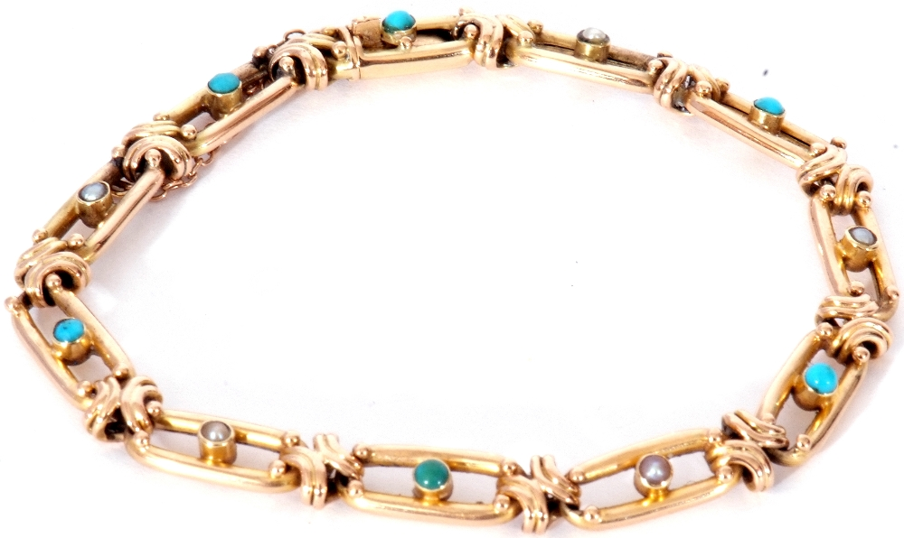Vintage 15ct stamped bracelet, the oval open work links alternate set centring a turquoise and a - Image 3 of 6