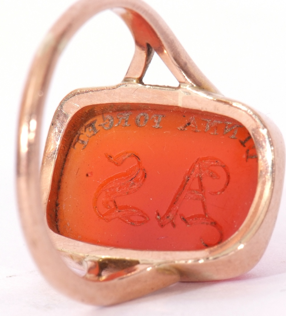 9ct stamped carnelian dress ring, the rectangular cut carnelian 18 x 12mm, bezel set and raised - Image 9 of 10