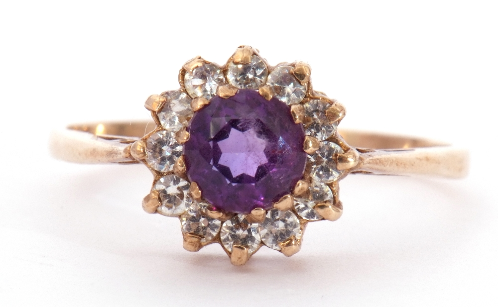 Modern 9ct gold amethyst and paste set cluster ring, size S - Image 2 of 10