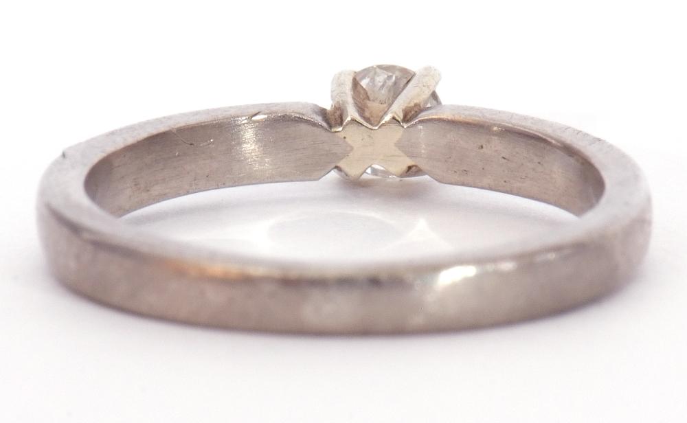Precious metal single stone diamond ring featuring a round brilliant cut diamond, 0.20ct approx, - Image 6 of 7