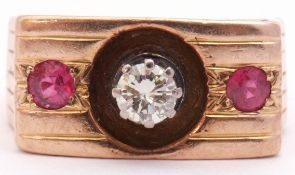 Diamond and ruby ring featuring a round brilliant cut diamond, 0.33ct approx, multi-claw set and