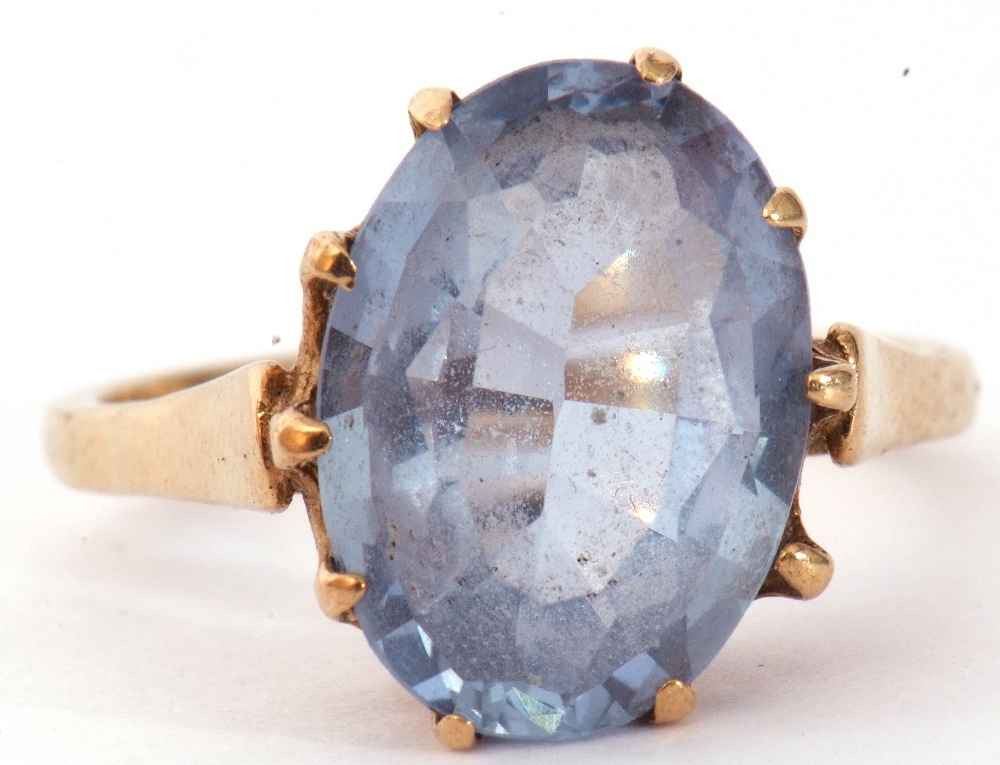 Mixed Lot: 9ct gold blue and paste set dress ring, the oval faceted multi-claw set and raised in a - Image 4 of 9