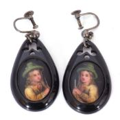 Pair of vintage jet portrait earrings, the porcelain panels transfer and painted with portraits of a