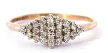 9ct gold and diamond cluster ring of lozenge shape featuring 24 round single cut small diamonds,