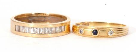 Mixed Lot: two yellow metal dress rings, both paste set, g/w 2.8gms