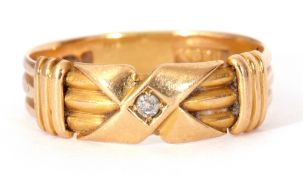 """Late Victorian 18ct gold and diamond set ring, the threaded shank with a central """"X"""" shaped design"""