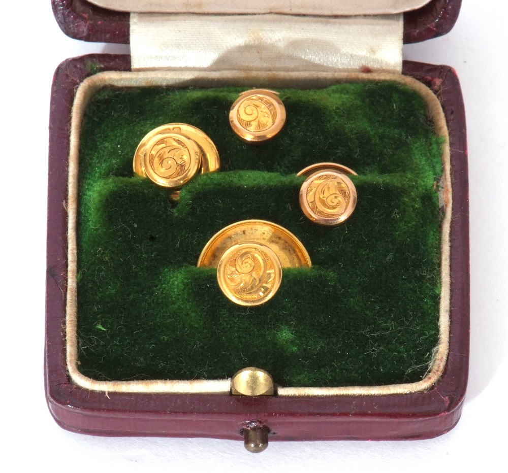 Set of four 9ct gold dress studs in original velvet lined and tooled leather case (one a/f), 2.6gms