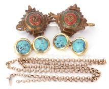 Mixed Lot: 9ct stamped belcher link chain (broken), 2.3gms, a pair of blue glass and gilt metal cuff