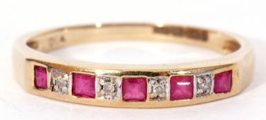 Modern 9ct gold diamond and ruby ring, alternate set with five calibre cut rubies and four small