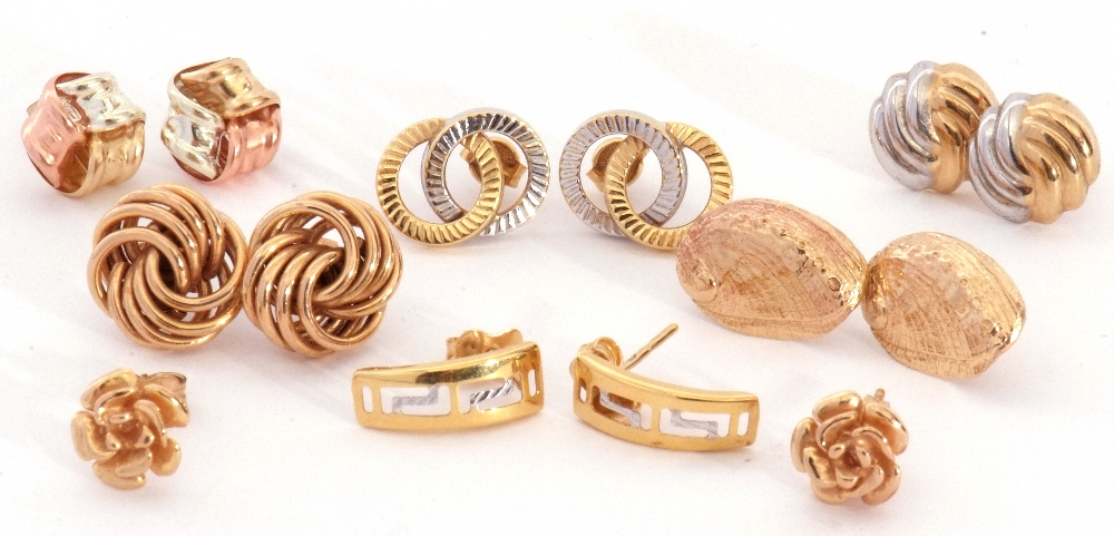 Mixed Lot: seven pairs of modern 9ct stamped and yellow metal earrings, all with post fittings, 9. - Image 2 of 2