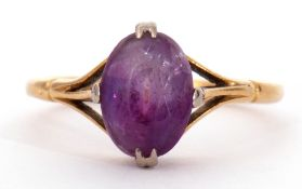 18ct stamped amethyst ring, cardinal set and raised between openwork shoulders, size K/L