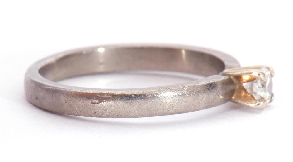 Precious metal single stone diamond ring featuring a round brilliant cut diamond, 0.20ct approx, - Image 7 of 7