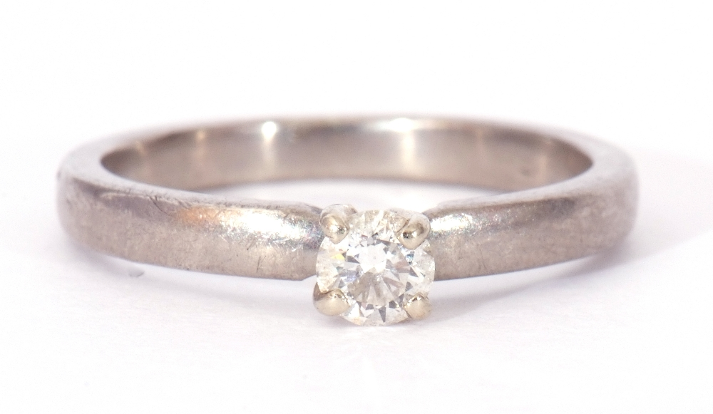 Precious metal single stone diamond ring featuring a round brilliant cut diamond, 0.20ct approx, - Image 3 of 7