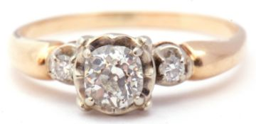 Diamond ring featuring an old cut diamond, 0.25ct approx, in an illusion setting flanked by two
