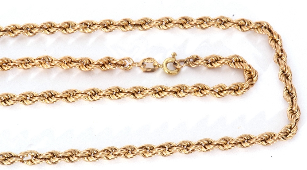 9ct gold rope twist chain, (broken), 5gms - Image 3 of 3