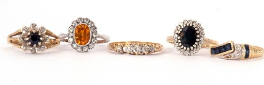 Mixed Lot: five stone graduated diamond ring, the carved gallery broken, stamped 18ct, a sapphire