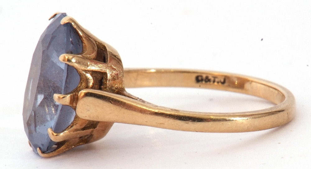 Mixed Lot: 9ct gold blue and paste set dress ring, the oval faceted multi-claw set and raised in a - Image 5 of 9