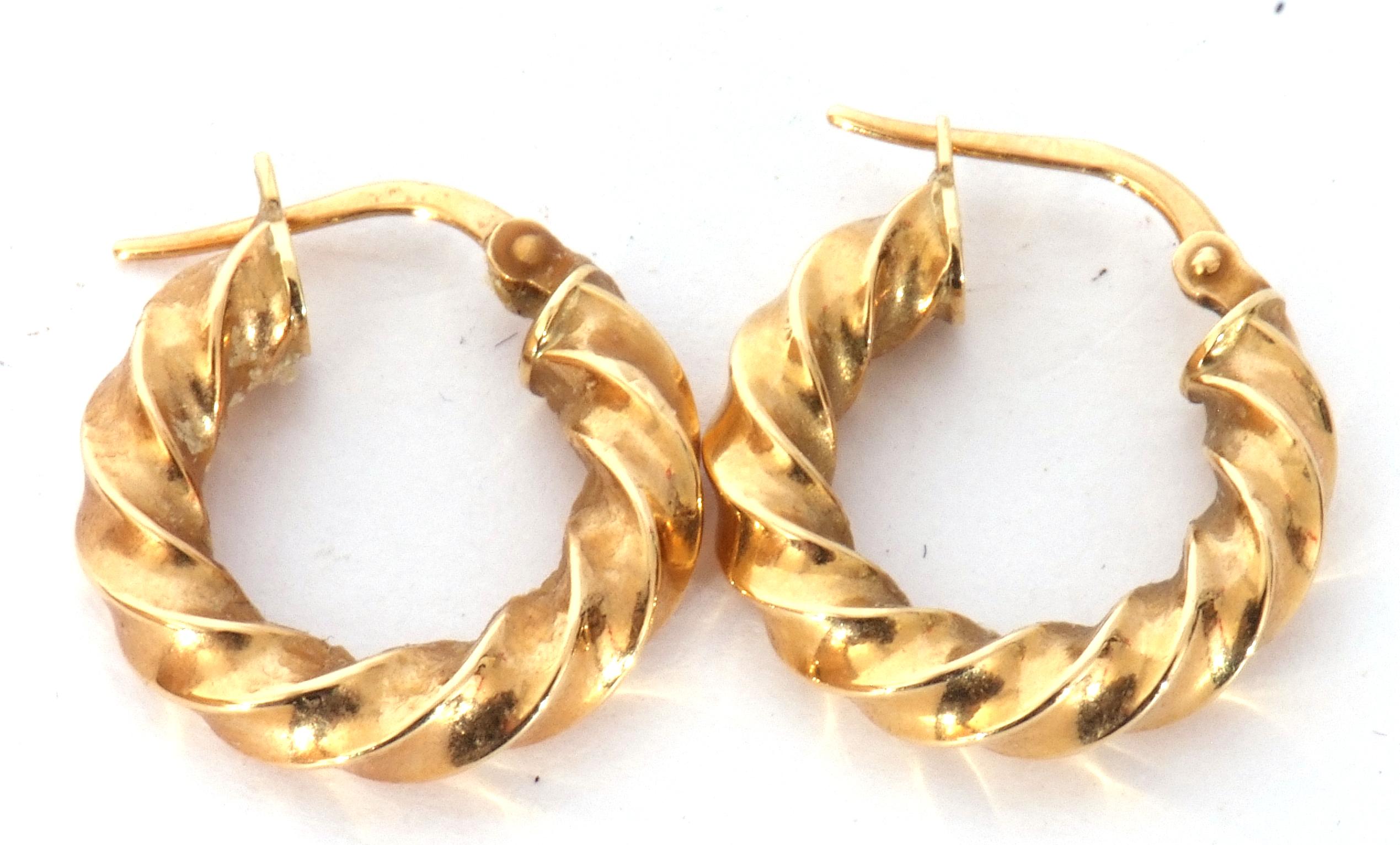 Pair of 750 stamped creole earrings, 1.7gms