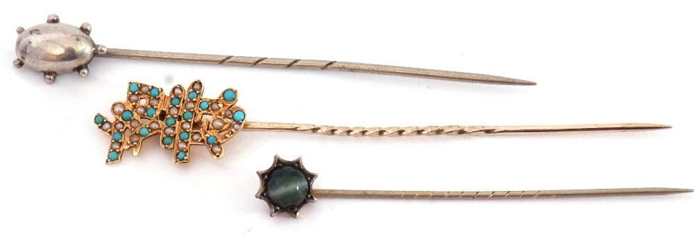 Mixed Lot: 15ct marked stick pin, the finial set with small turquoise and seed pearls, an antique