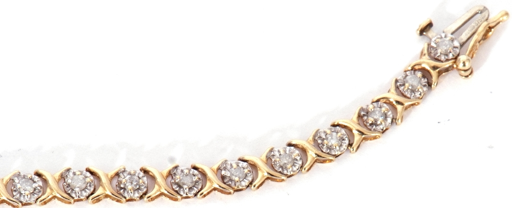 Diamond set line bracelet featuring 30 small diamonds, each in an illusion setting, joined by X- - Image 6 of 6