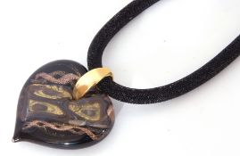 """Large Murano heart glass pendant stamped verso """"Tagliapietra Murano"""" suspended from a black collar"""