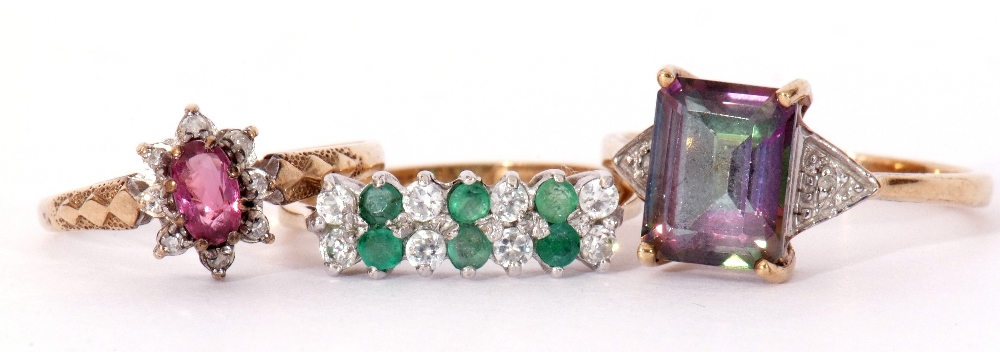 Mixed Lot: 9ct gold pink stone and small diamond cluster ring, a 9ct gold mystic coated topaz and