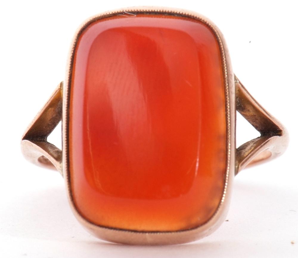 9ct stamped carnelian dress ring, the rectangular cut carnelian 18 x 12mm, bezel set and raised - Image 10 of 10