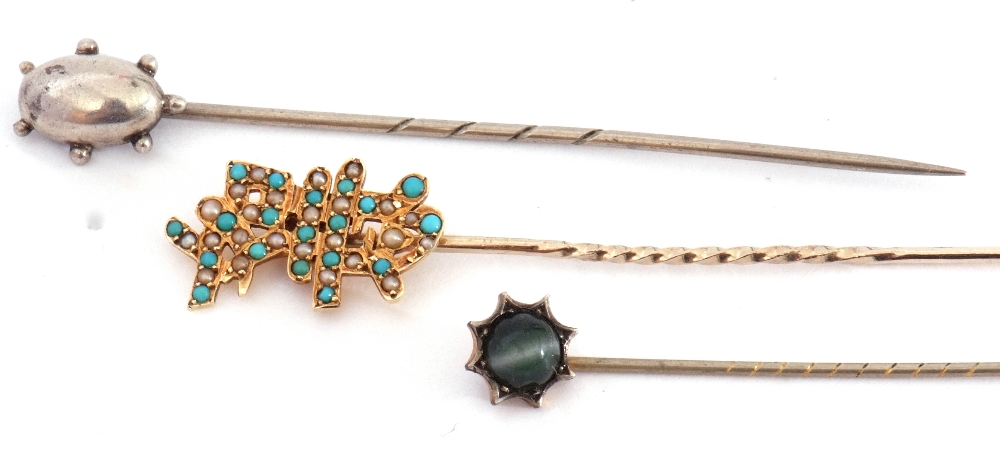 Mixed Lot: 15ct marked stick pin, the finial set with small turquoise and seed pearls, an antique - Image 3 of 5