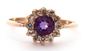 Modern 9ct gold amethyst and paste set cluster ring, size S