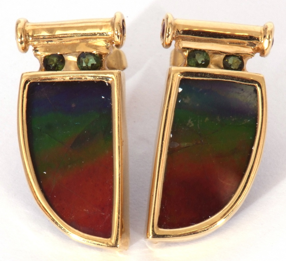 Pair of ammolite earrings, a tusk design, each with a bezel set ammolite stone in 18K mounts, 2cm - Image 2 of 6