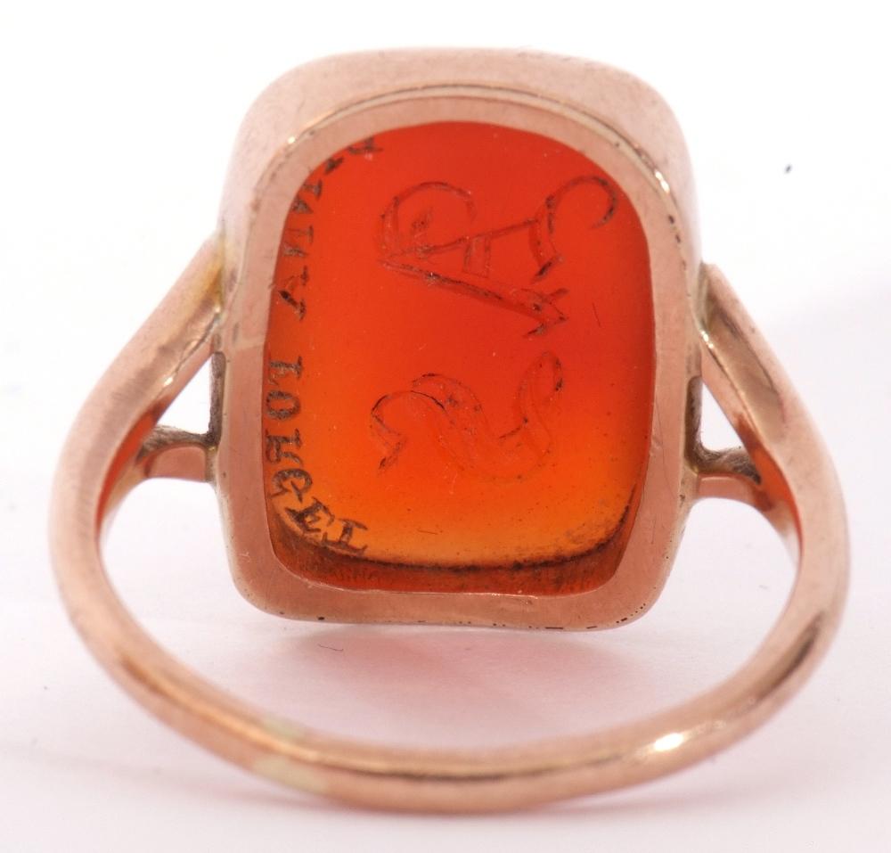 9ct stamped carnelian dress ring, the rectangular cut carnelian 18 x 12mm, bezel set and raised - Image 4 of 10