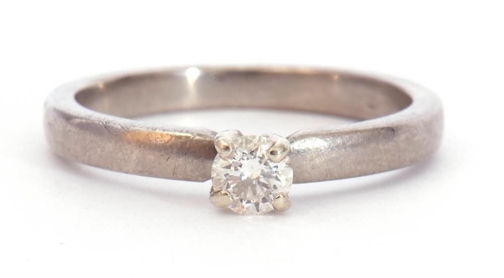 Precious metal single stone diamond ring featuring a round brilliant cut diamond, 0.20ct approx,